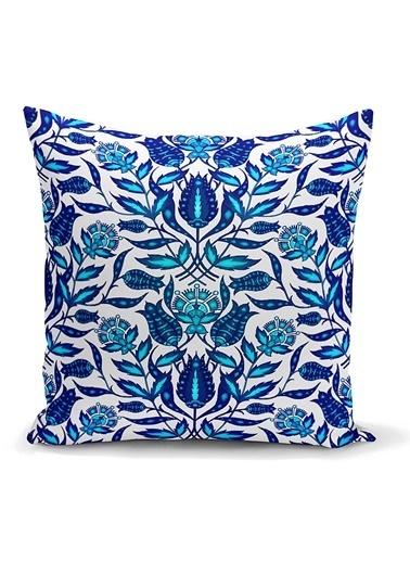 Real Homes Mavi Cam Göbeği Etnik Desenli Dekoratif Yastık Kırlent Kılıfı Renkli